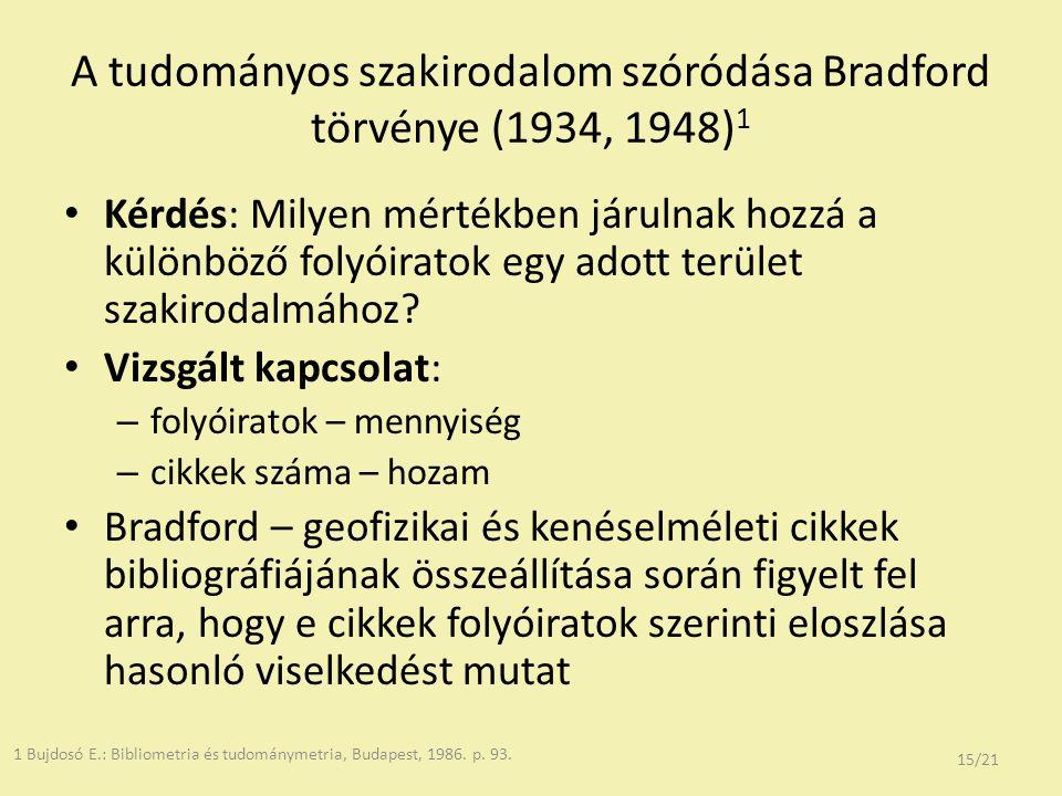 A tudományos szakirodalom szóródása Bradford törvénye (1934, 1948) 1 Kérdés: Milyen mértékben járulnak hozzá a különböző folyóiratok egy adott terület