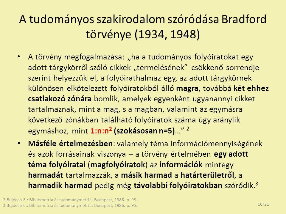 """A tudományos szakirodalom szóródása Bradford törvénye (1934, 1948) A törvény megfogalmazása: """"ha a tudományos folyóiratokat egy adott tárgykörről szól"""