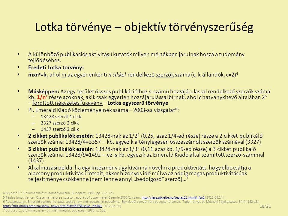 Lotka törvénye – objektív törvényszerűség A különböző publikációs aktivitású kutatók milyen mértékben járulnak hozzá a tudomány fejlődéséhez. Eredeti