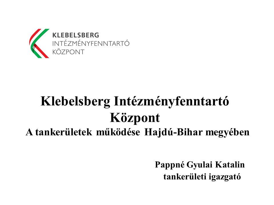 Klebelsberg Intézményfenntartó Központ A tankerületek működése Hajdú-Bihar megyében Pappné Gyulai Katalin tankerületi igazgató