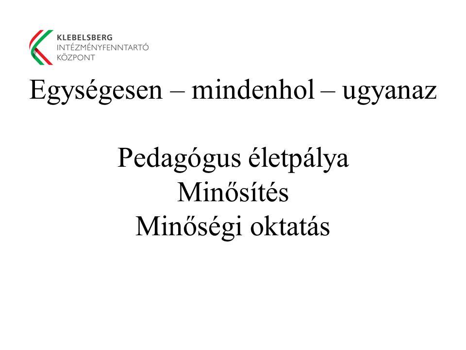 Egységesen – mindenhol – ugyanaz Pedagógus életpálya Minősítés Minőségi oktatás