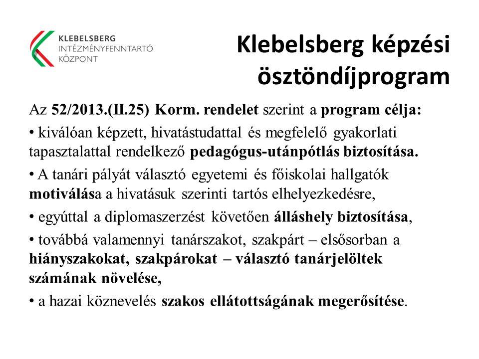 Klebelsberg képzési ösztöndíjprogram Az 52/2013.(II.25) Korm.