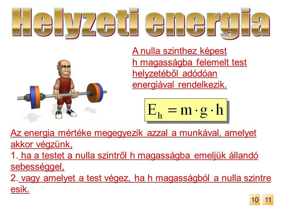 A nulla szinthez képest h magasságba felemelt test helyzetéből adódóan energiával rendelkezik. Az energia mértéke megegyezik azzal a munkával, amelyet