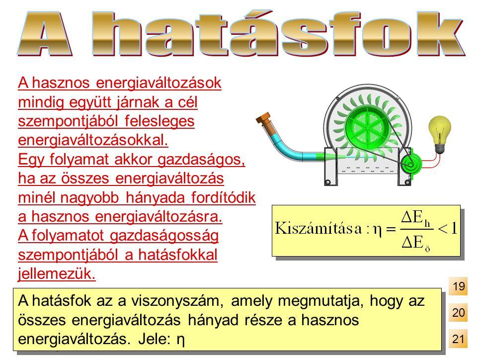 A hasznos energiaváltozások mindig együtt járnak a cél szempontjából felesleges energiaváltozásokkal. Egy folyamat akkor gazdaságos, ha az összes ener