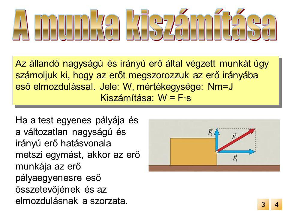 Ha az erőt ábrázoljuk az elmozdulás függvényében akkor a grafikon alatti terület mérőszáma megegyezik a munkavégzés mérőszámával.