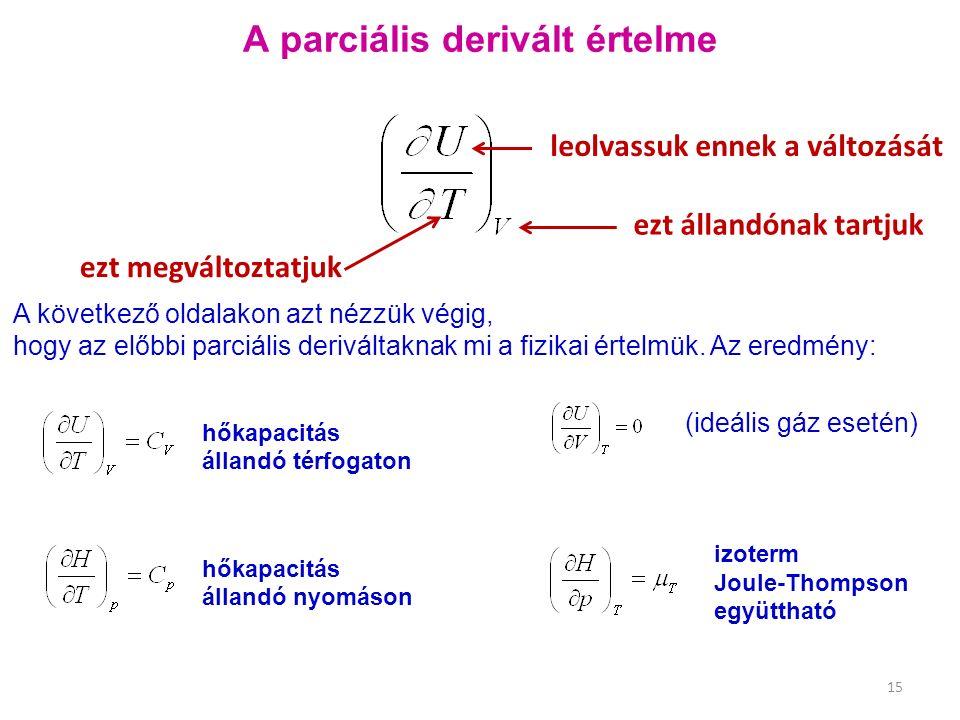A következő oldalakon azt nézzük végig, hogy az előbbi parciális deriváltaknak mi a fizikai értelmük. Az eredmény: (ideális gáz esetén) A parciális de
