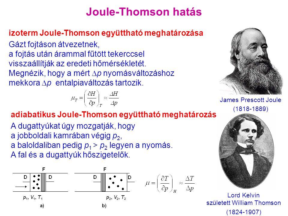 adiabatikus Joule-Thomson együttható meghatározása A dugattyúkat úgy mozgatják, hogy a jobboldali kamrában végig p 2, a baloldaliban pedig p 1 > p 2 legyen a nyomás.