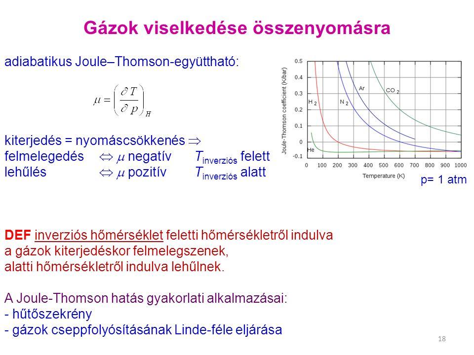 Gázok viselkedése összenyomásra adiabatikus Joule–Thomson ‑ együttható: kiterjedés = nyomáscsökkenés  felmelegedés   negatív T inverziós felett lehűlés   pozitívT inverziós alatt DEF inverziós hőmérséklet feletti hőmérsékletről indulva a gázok kiterjedéskor felmelegszenek, alatti hőmérsékletről indulva lehűlnek.