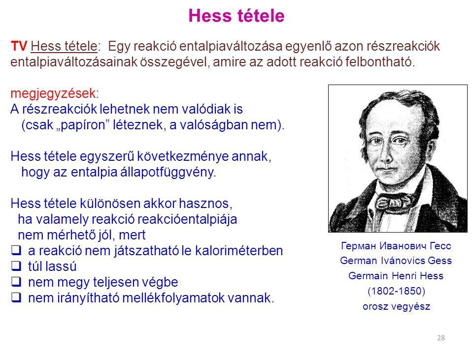 Hess tétele TV Hess tétele: Egy reakció entalpiaváltozása egyenlő azon részreakciók entalpiaváltozásainak összegével, amire az adott reakció felbontha