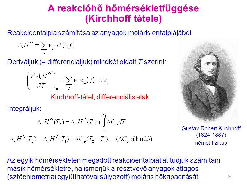 A reakcióhő hőmérsékletfüggése (Kirchhoff tétele) Deriváljuk (= differenciáljuk) mindkét oldalt T szerint: Reakcióentalpia számítása az anyagok moláris entalpiájából Gustav Robert Kirchhoff (1824-1887) német fizikus Integráljuk: Kirchhoff-tétel, differenciális alak Az egyik hőmérsékleten megadott reakcióentalpiát át tudjuk számítani másik hőmérsékletre, ha ismerjük a résztvevő anyagok átlagos (sztöchiometriai együtthatóval súlyozott) moláris hőkapacitását.
