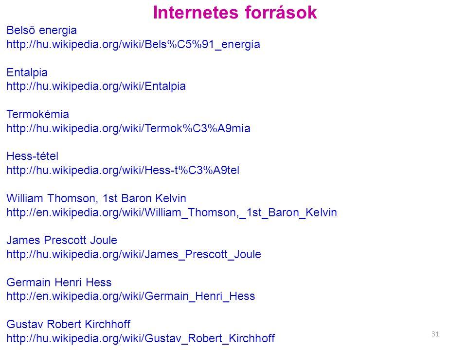 Internetes források Belső energia http://hu.wikipedia.org/wiki/Bels%C5%91_energia Entalpia http://hu.wikipedia.org/wiki/Entalpia Termokémia http://hu.