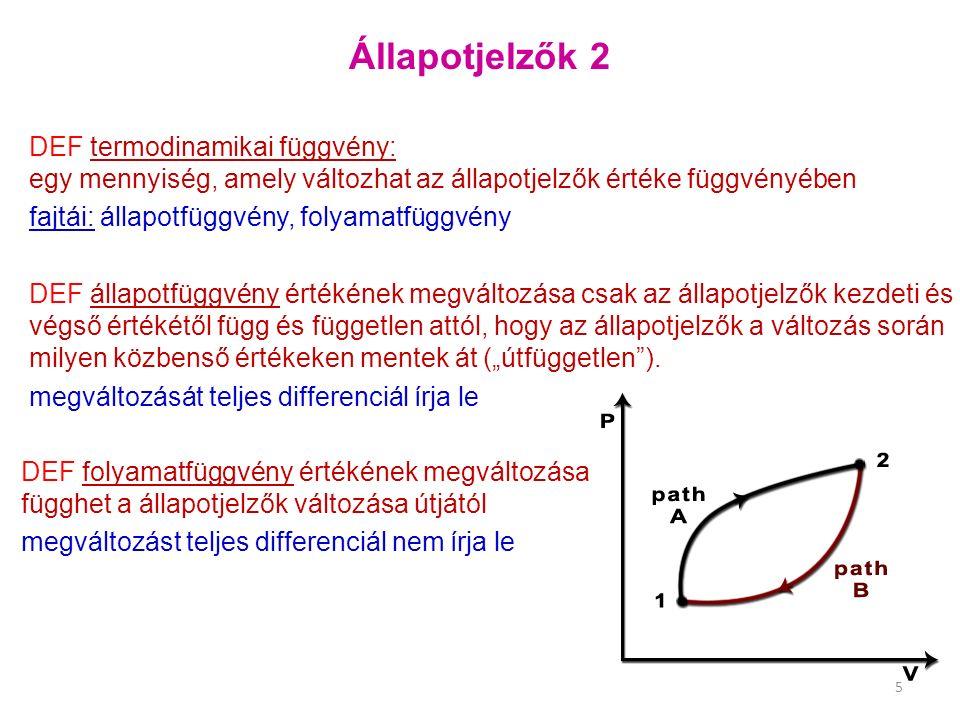 Állapotjelzők 2 DEF termodinamikai függvény: egy mennyiség, amely változhat az állapotjelzők értéke függvényében fajtái: állapotfüggvény, folyamatfügg