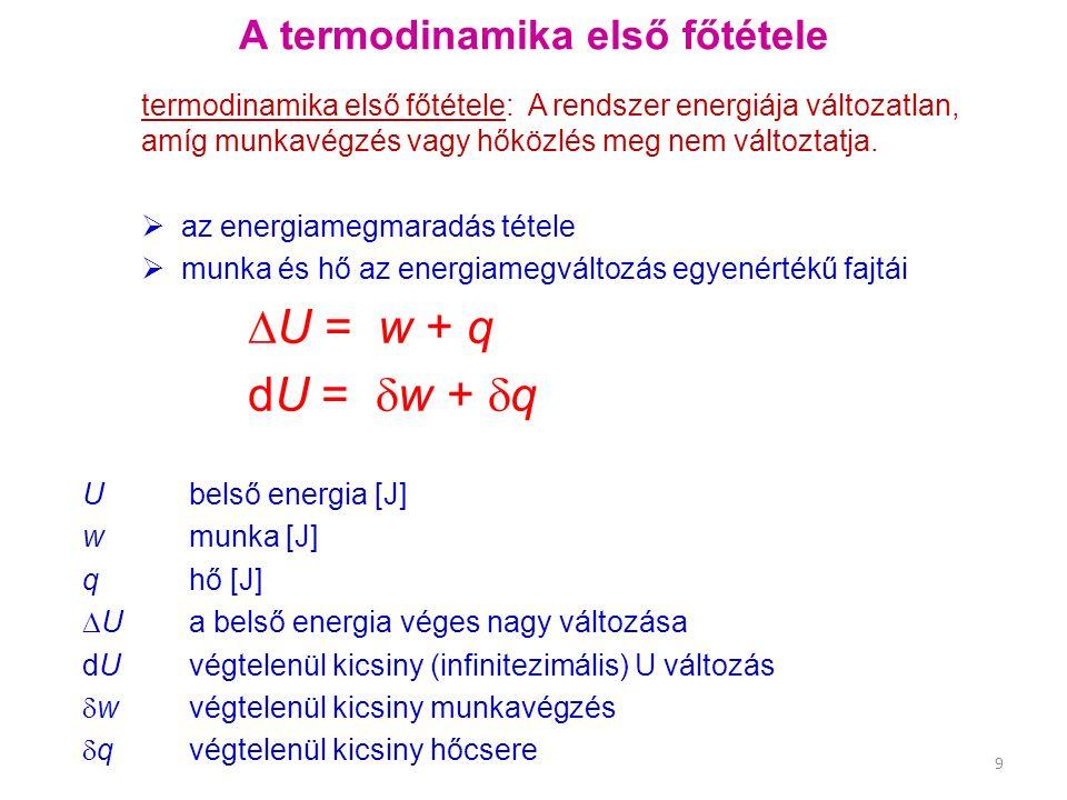 minden anyagra: H = U + p V Tökéletes gázra: p V = n R T H = U + n R T H – U = n R T T szerint differenciálva C p – C V = n Rn-el osztunk c p – c V = Ra moláris hőkapacitások különbsége R R = 8,314 J K -1 mol -1 c p és c V kapcsolata c p c V c p – c V (J K -1 mol -1 ) He (25  C)20.786 12.4728,314 N 2 (25  C) 29.1220.808,34 CO 2 (25  C) 36.9428.468,48 H 2 O (100  C) 37.4728.03 9,44 C p és C V extenzív (egész rendszerre vonatkozó) hőkapacitások mértékegysége J K -1 c p és c V moláris hőkapacitások (intenzív mennyiség) mértékegysége J K -1 mol -1