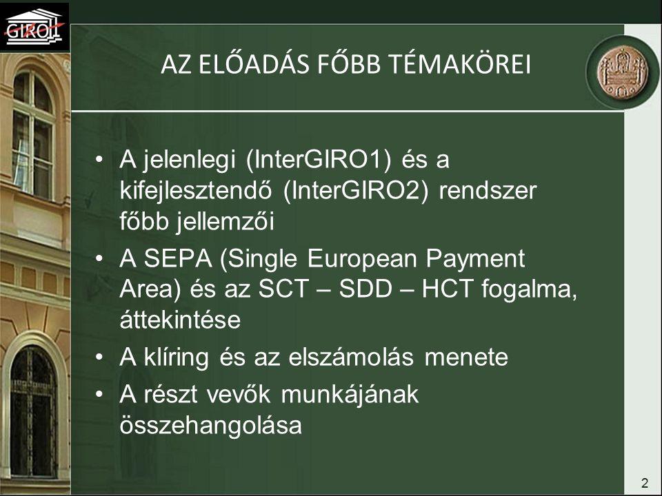 2 AZ ELŐADÁS FŐBB TÉMAKÖREI A jelenlegi (InterGIRO1) és a kifejlesztendő (InterGIRO2) rendszer főbb jellemzői A SEPA (Single European Payment Area) és az SCT – SDD – HCT fogalma, áttekintése A klíring és az elszámolás menete A részt vevők munkájának összehangolása