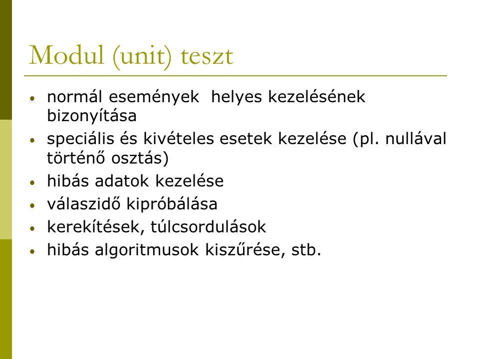 Modul (unit) teszt normál események helyes kezelésének bizonyítása speciális és kivételes esetek kezelése (pl.
