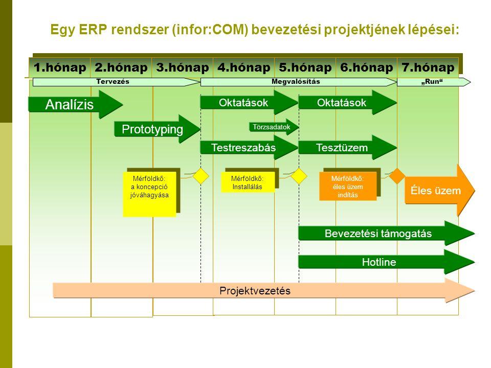 """Egy ERP rendszer (infor:COM) bevezetési projektjének lépései: 1.hónap 2.hónap 3.hónap 4.hónap 5.hónap 6.hónap Analízis Prototyping Oktatások Testreszabás Törzsadatok Oktatások Tesztüzem Mérföldkő: a koncepció jóváhagyása Mérföldkő: a koncepció jóváhagyása Mérföldkő: Installálás Mérföldkő: Installálás Bevezetési támogatás Éles üzem Hotline Projektvezetés TervezésMegvalósítás""""Run Mérföldkő: éles üzem indítás Mérföldkő: éles üzem indítás 7.hónap"""