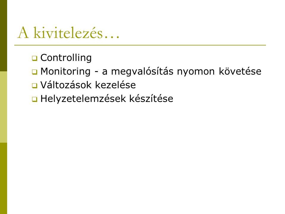 A kivitelezés…  Controlling  Monitoring - a megvalósítás nyomon követése  Változások kezelése  Helyzetelemzések készítése