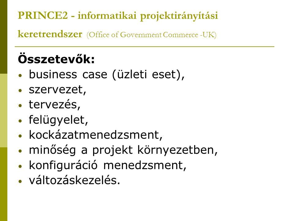 PRINCE2 - informatikai projektirányítási keretrendszer (Office of Government Commerce -UK) Összetevők: business case (üzleti eset), szervezet, tervezés, felügyelet, kockázatmenedzsment, minőség a projekt környezetben, konfiguráció menedzsment, változáskezelés.