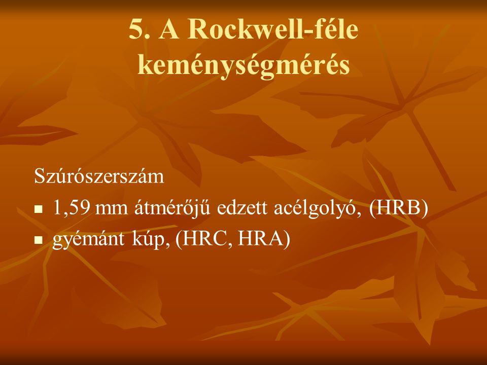 5. A Rockwell-féle keménységmérés Szúrószerszám 1,59 mm átmérőjű edzett acélgolyó, (HRB) gyémánt kúp, (HRC, HRA)