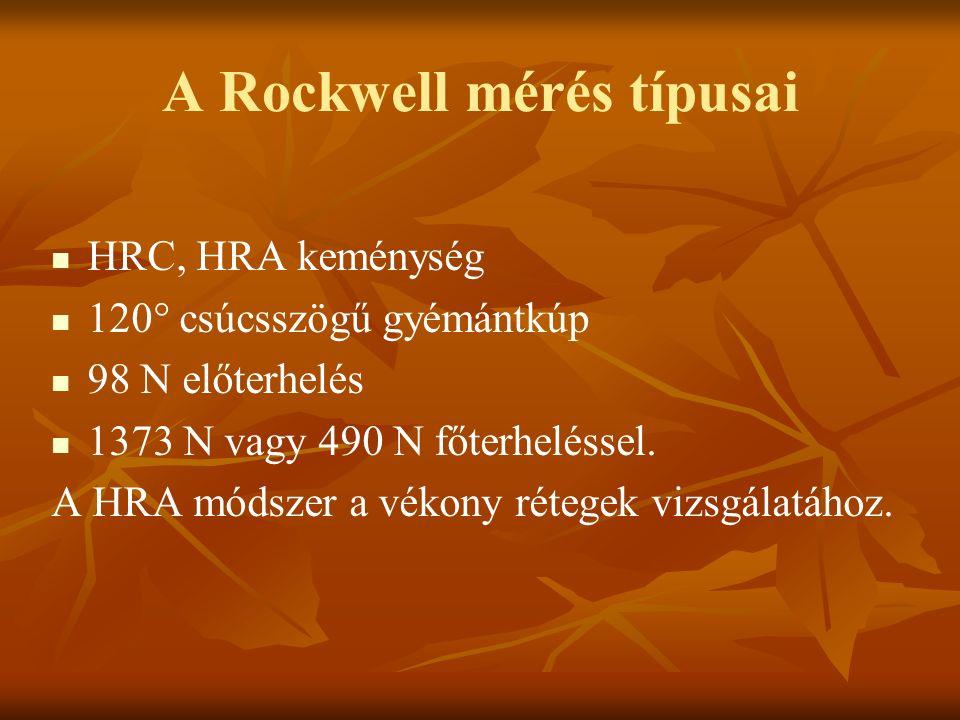 A Rockwell mérés típusai HRC, HRA keménység 120° csúcsszögű gyémántkúp 98 N előterhelés 1373 N vagy 490 N főterheléssel. A HRA módszer a vékony rétege