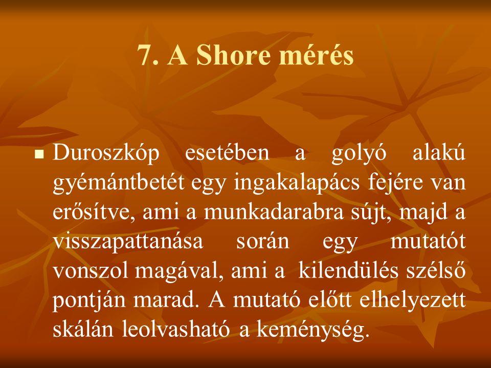 7. A Shore mérés Duroszkóp esetében a golyó alakú gyémántbetét egy ingakalapács fejére van erősítve, ami a munkadarabra sújt, majd a visszapattanása s