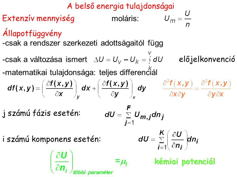 A belső energia tulajdonságai Extenzív mennyiség moláris: Állapotfüggvény -csak a rendszer szerkezeti adottságaitól függ -csak a változása ismert előjelkonvenció j számú fázis esetén: i számú komponens esetén: kémiai potenciál -matematikai tulajdonsága: teljes differenciál