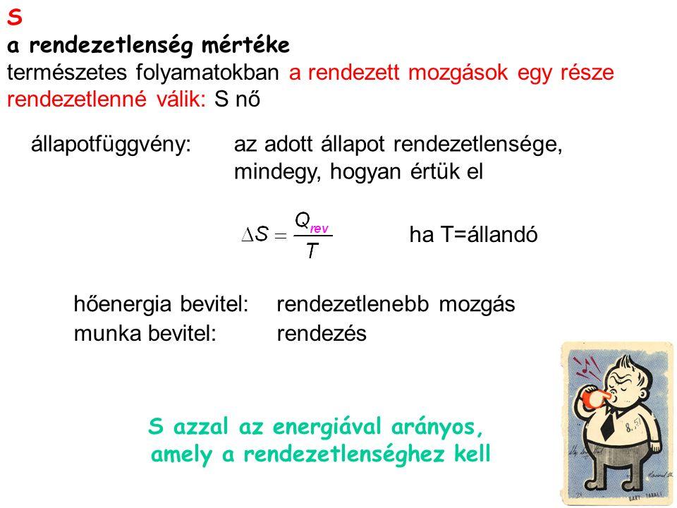 S a rendezetlenség mértéke természetes folyamatokban a rendezett mozgások egy része rendezetlenné válik: S nő S azzal az energiával arányos, amely a rendezetlenséghez kell hőenergia bevitel:rendezetlenebb mozgás munka bevitel:rendezés állapotfüggvény: az adott állapot rendezetlensége, mindegy, hogyan értük el ha T=állandó