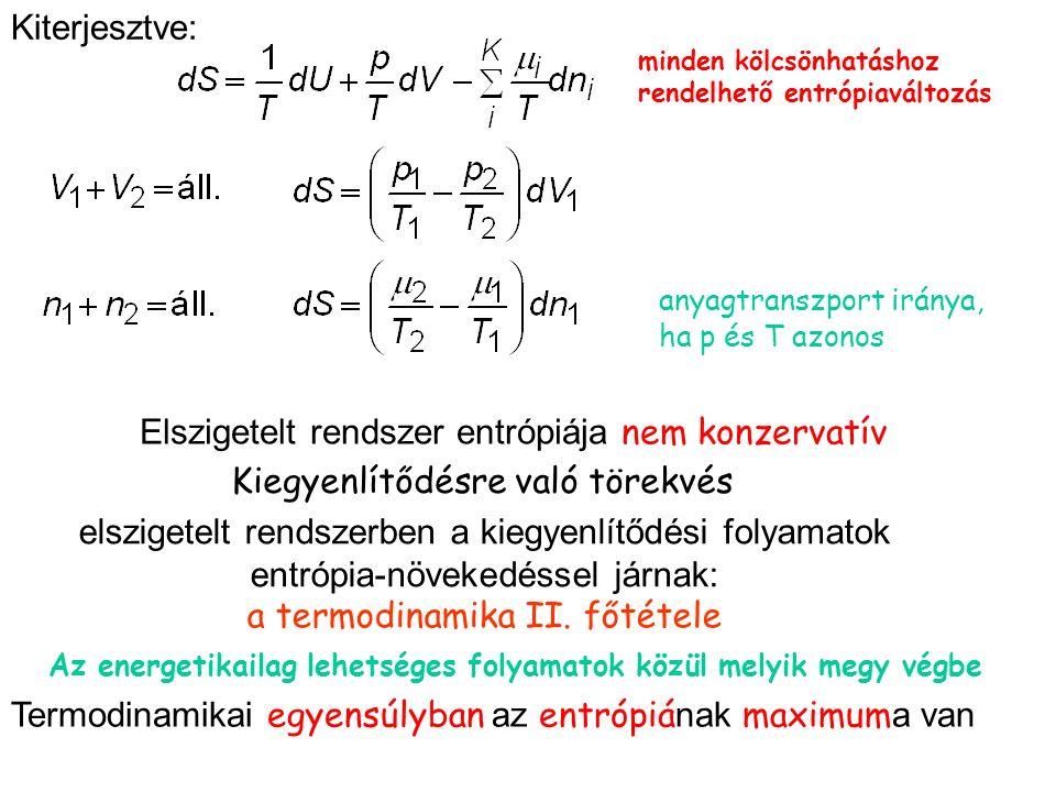 elszigetelt rendszerben a kiegyenlítődési folyamatok entrópia-növekedéssel járnak: a termodinamika II.