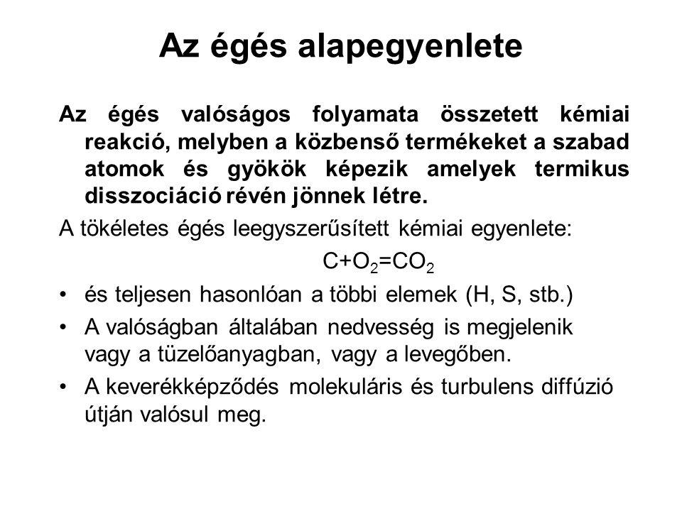 Az égés alapegyenlete Az égés valóságos folyamata összetett kémiai reakció, melyben a közbenső termékeket a szabad atomok és gyökök képezik amelyek te