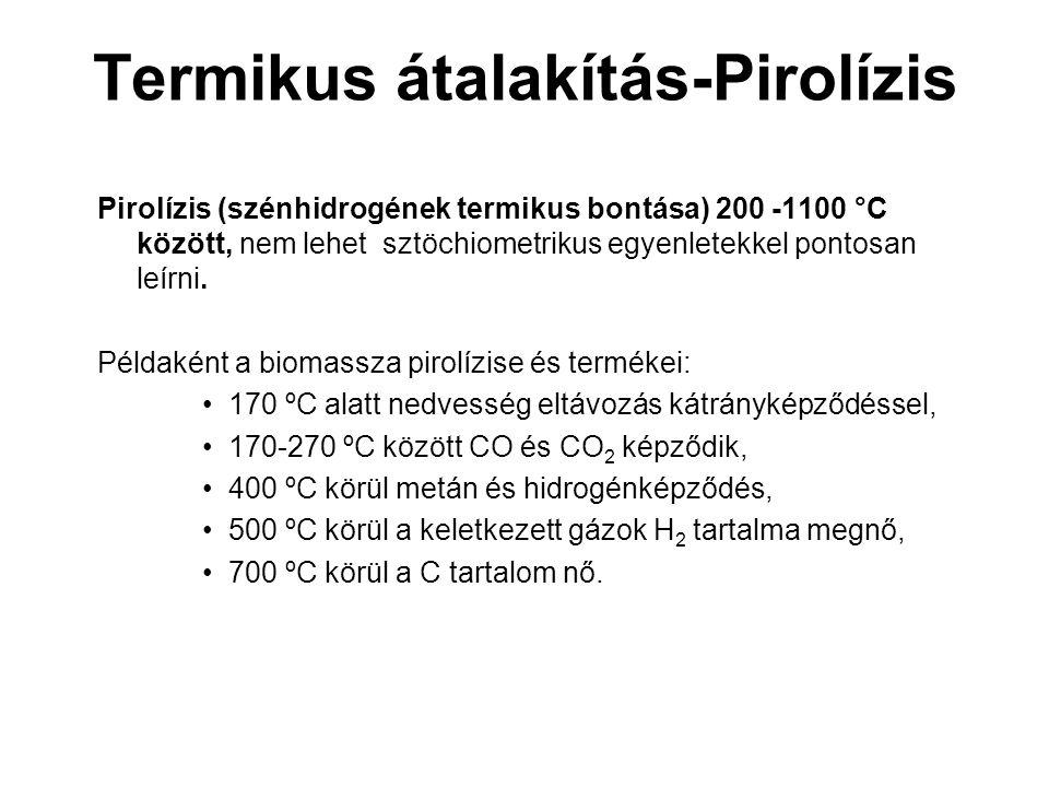Termikus átalakítás-Pirolízis Pirolízis (szénhidrogének termikus bontása) 200 -1100 °C között, nem lehet sztöchiometrikus egyenletekkel pontosan leírn