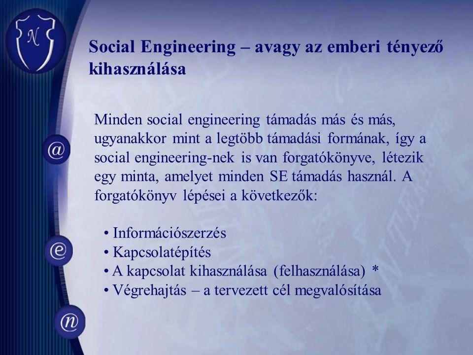 Minden social engineering támadás más és más, ugyanakkor mint a legtöbb támadási formának, így a social engineering-nek is van forgatókönyve, létezik egy minta, amelyet minden SE támadás használ.