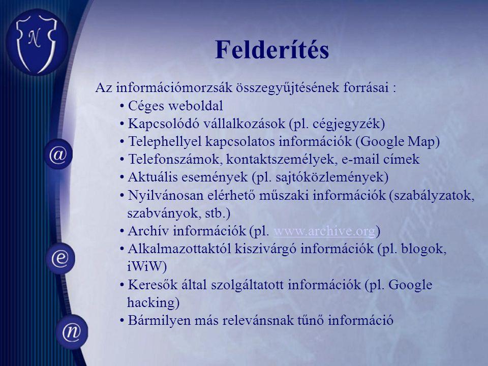 Az információmorzsák összegyűjtésének forrásai : Céges weboldal Kapcsolódó vállalkozások (pl.