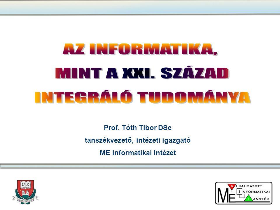 Prof. Tóth Tibor DSc tanszékvezető, intézeti igazgató ME Informatikai Intézet