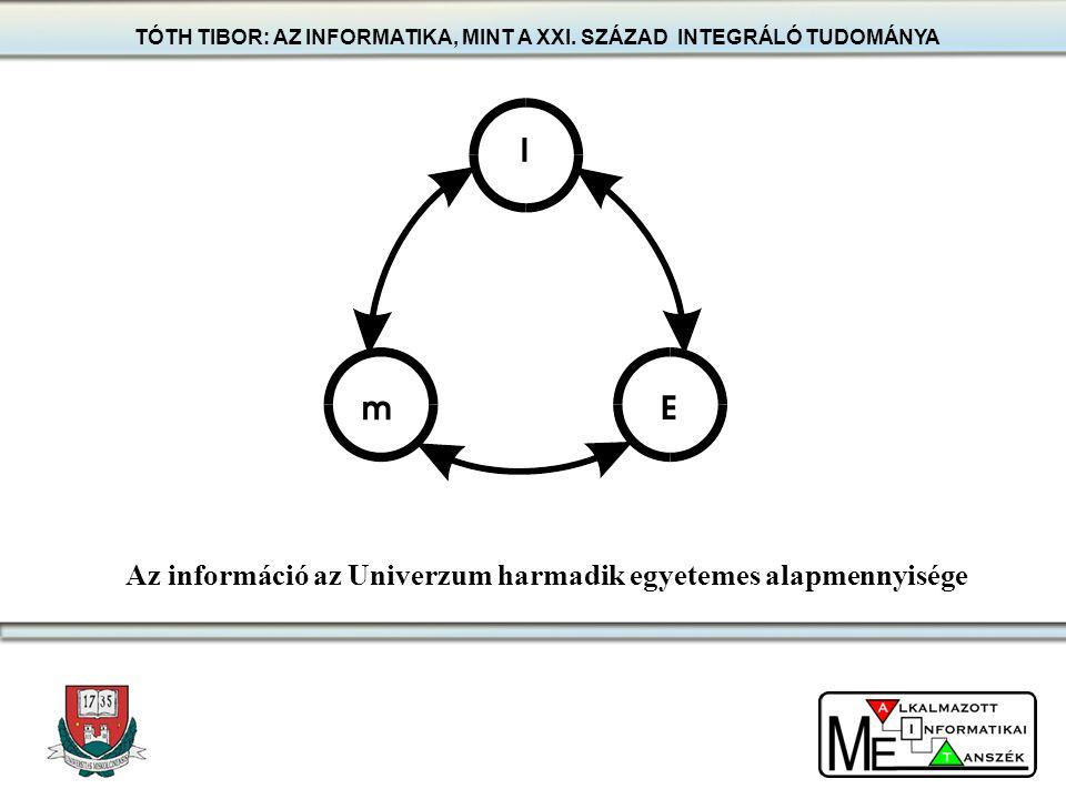 Az információ az Univerzum harmadik egyetemes alapmennyisége TÓTH TIBOR: AZ INFORMATIKA, MINT A XXI. SZÁZAD INTEGRÁLÓ TUDOMÁNYA