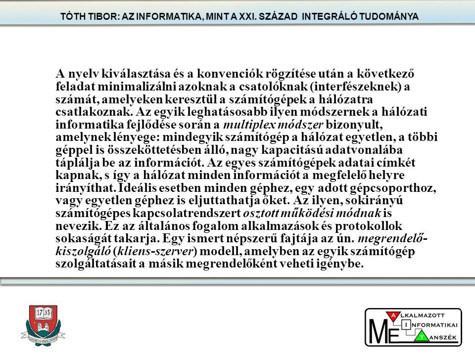 TÓTH TIBOR: AZ INFORMATIKA, MINT A XXI. SZÁZAD INTEGRÁLÓ TUDOMÁNYA A nyelv kiválasztása és a konvenciók rögzítése után a következő feladat minimalizál