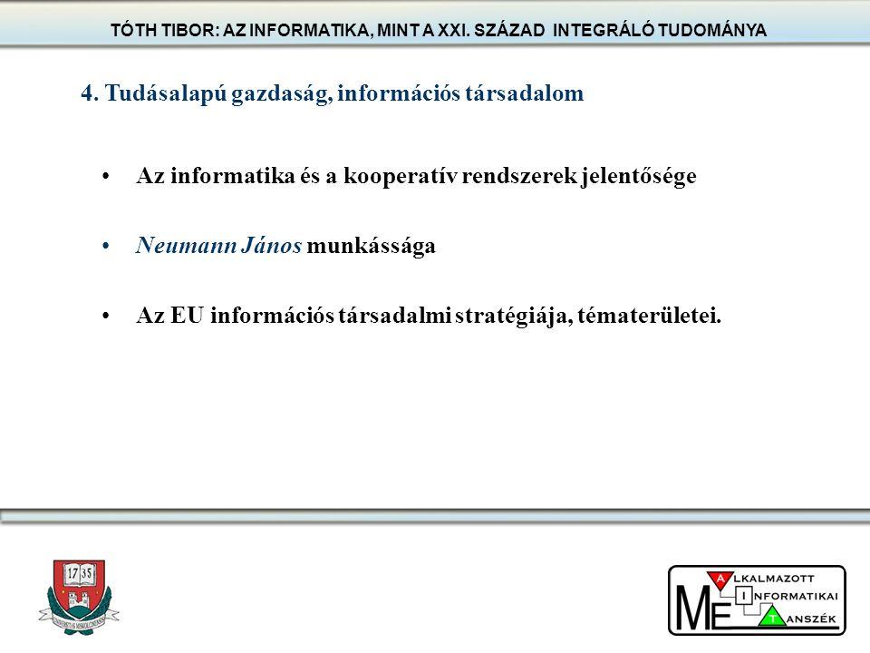 Az informatika és a kooperatív rendszerek jelentősége Neumann János munkássága Az EU információs társadalmi stratégiája, tématerületei. 4. Tudásalapú