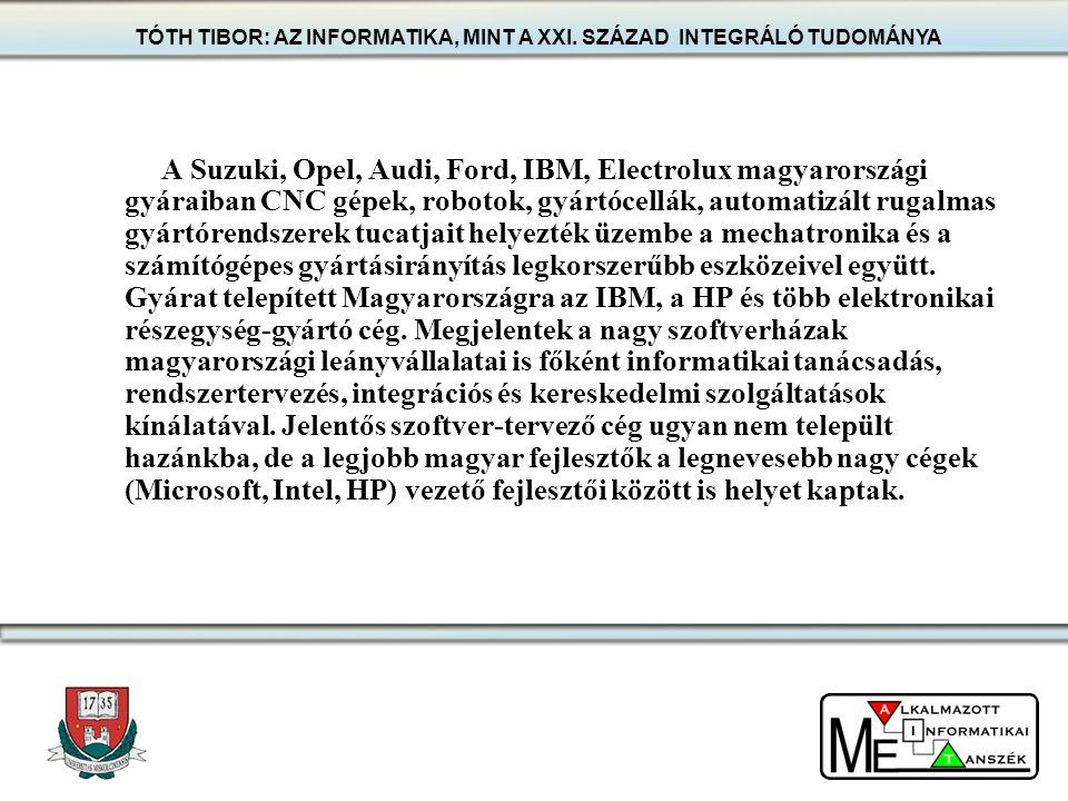 A Suzuki, Opel, Audi, Ford, IBM, Electrolux magyarországi gyáraiban CNC gépek, robotok, gyártócellák, automatizált rugalmas gyártórendszerek tucatjait