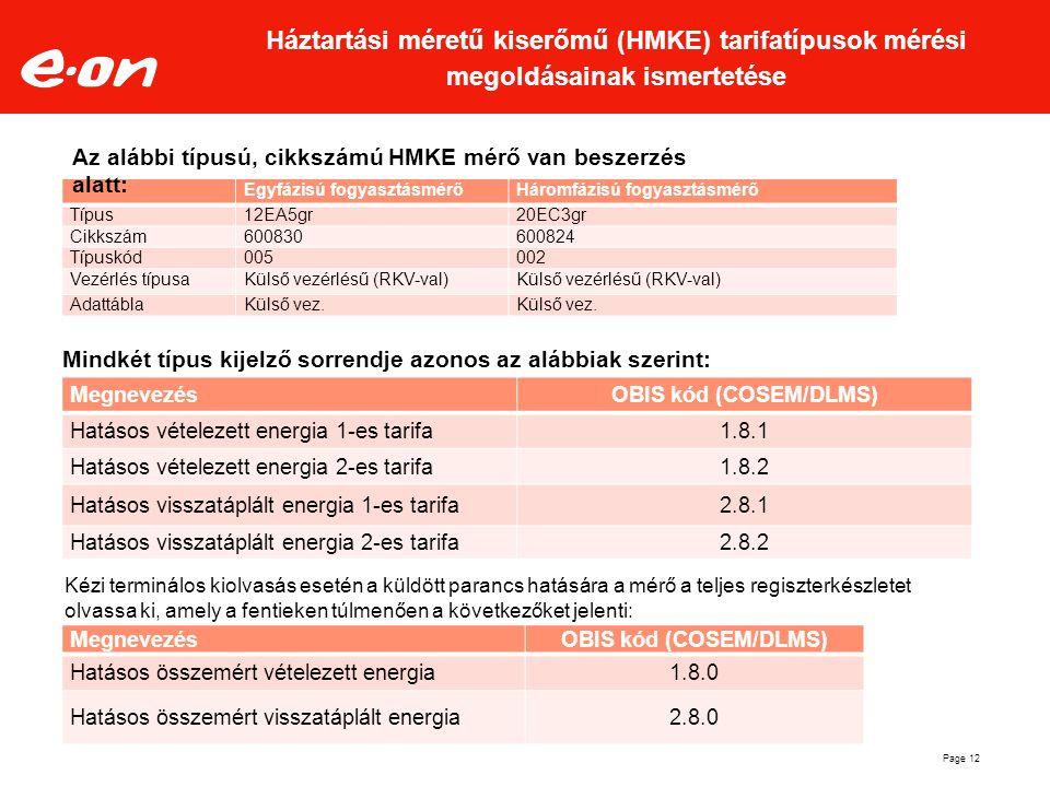MegnevezésOBIS kód (COSEM/DLMS) Hatásos vételezett energia 1-es tarifa1.8.1 Hatásos vételezett energia 2-es tarifa1.8.2 Hatásos visszatáplált energia