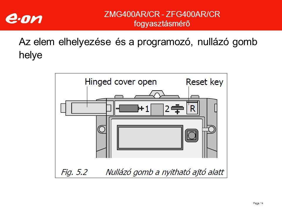 Az elem elhelyezése és a programozó, nullázó gomb helye Page 14 ZMG400AR/CR - ZFG400AR/CR fogyasztásmérő