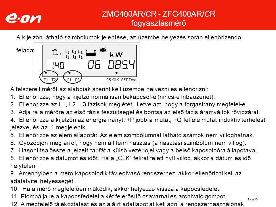 A kijelzőn látható szimbólumok jelentése, az üzembe helyezés során ellenőrizendő feladatok Page 15 A felszerelt mérőt az alábbiak szerint kell üzembe