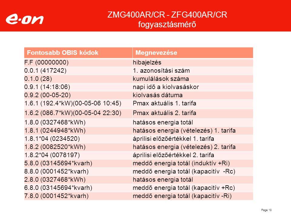 Page 18 Fontosabb OBIS kódokMegnevezése F.F (00000000)hibajelzés 0.0.1 (417242)1. azonosítási szám 0.1.0 (28)kumulálások száma 0.9.1 (14:18:06)napi id