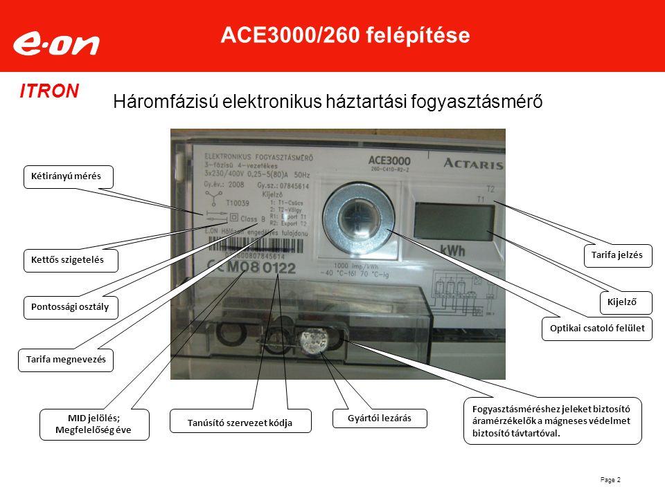 Page 2 ACE3000/260 felépítése Háromfázisú elektronikus háztartási fogyasztásmérő ITRON Kijelző Optikai csatoló felület Fogyasztásméréshez jeleket bizt