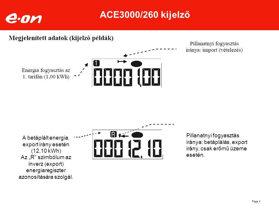 Page 4 ACE3000/260 kijelző Pillanatnyi fogyasztás iránya: betáplálás, export irány, csak erőmű üzeme esetén. A betáplált energia, export irány esetén