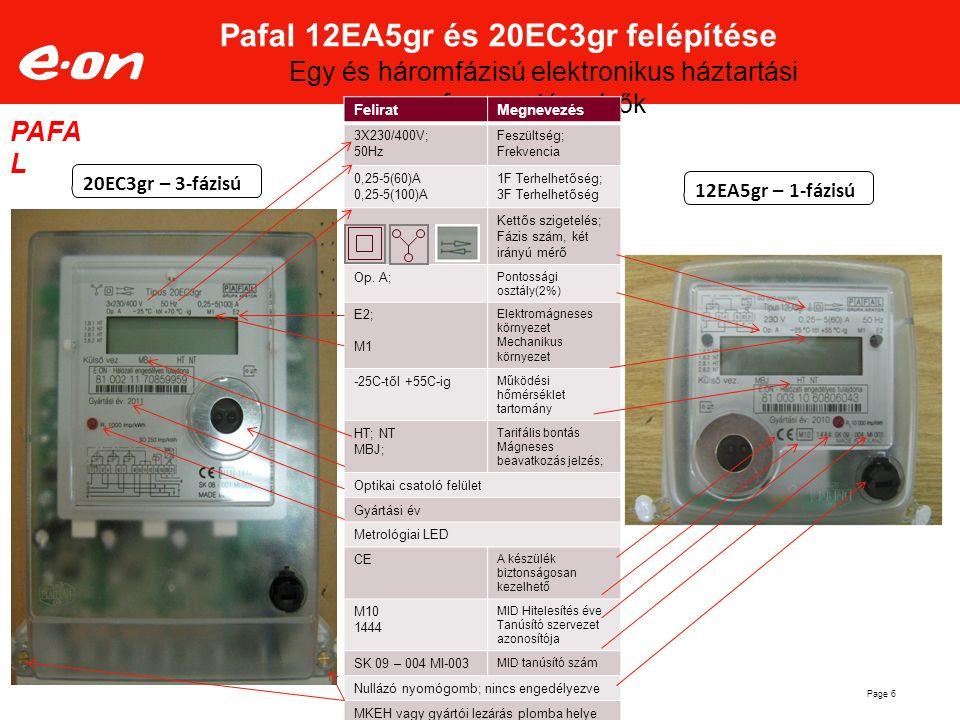 Page 6 Pafal 12EA5gr és 20EC3gr felépítése Egy és háromfázisú elektronikus háztartási fogyasztásmérők 20EC3gr – 3-fázisú 12EA5gr – 1-fázisú PAFA L Fel