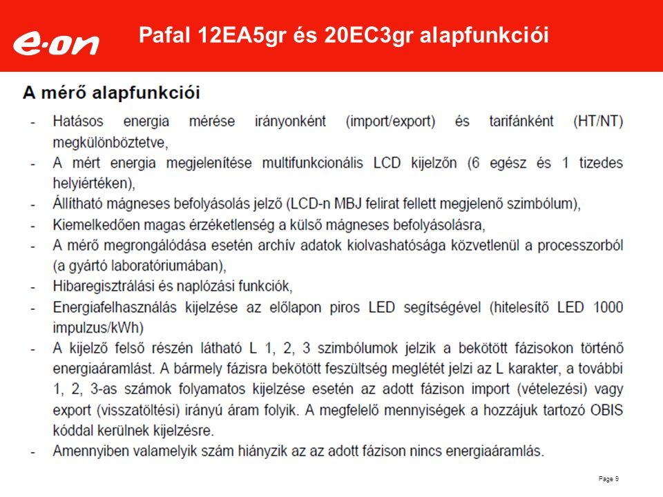 Page 9 Pafal 12EA5gr és 20EC3gr alapfunkciói