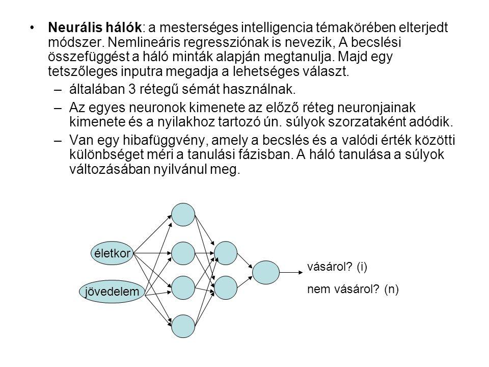 Neurális hálók: a mesterséges intelligencia témakörében elterjedt módszer.
