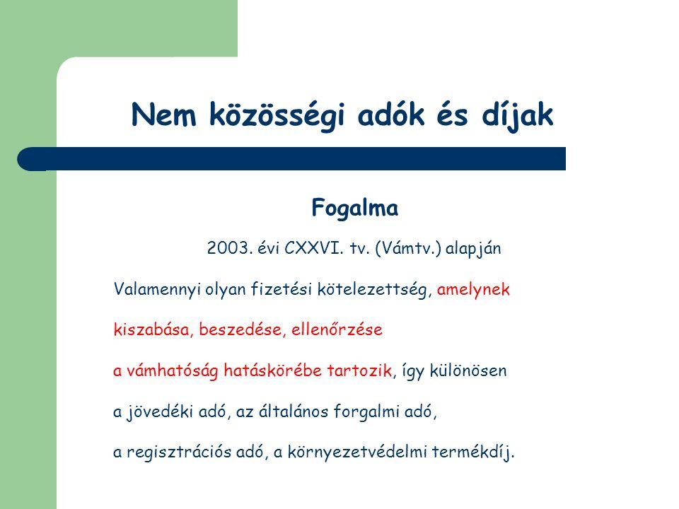 Nem közösségi adók és díjak Energiaadó Adóköteles termékek (2003.