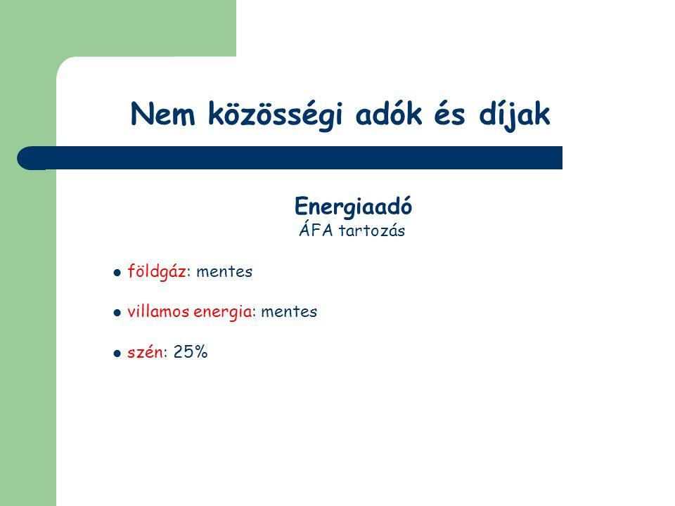 Nem közösségi adók és díjak KVTD Adóköteles termékek (1995.