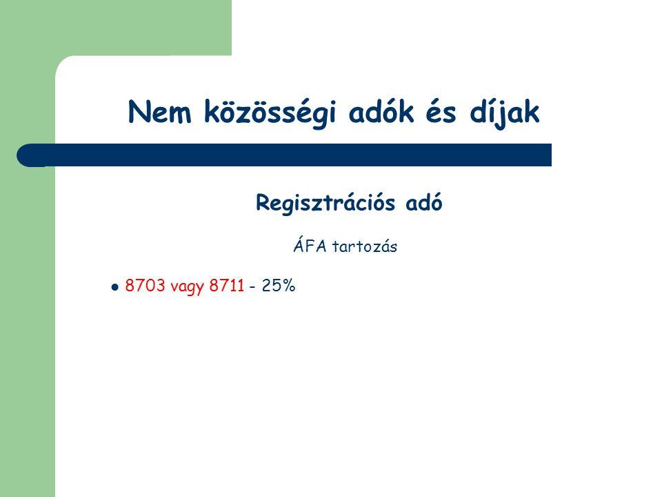 Nem közösségi adók és díjak Jövedéki adó Adóköteles termékek (2003.