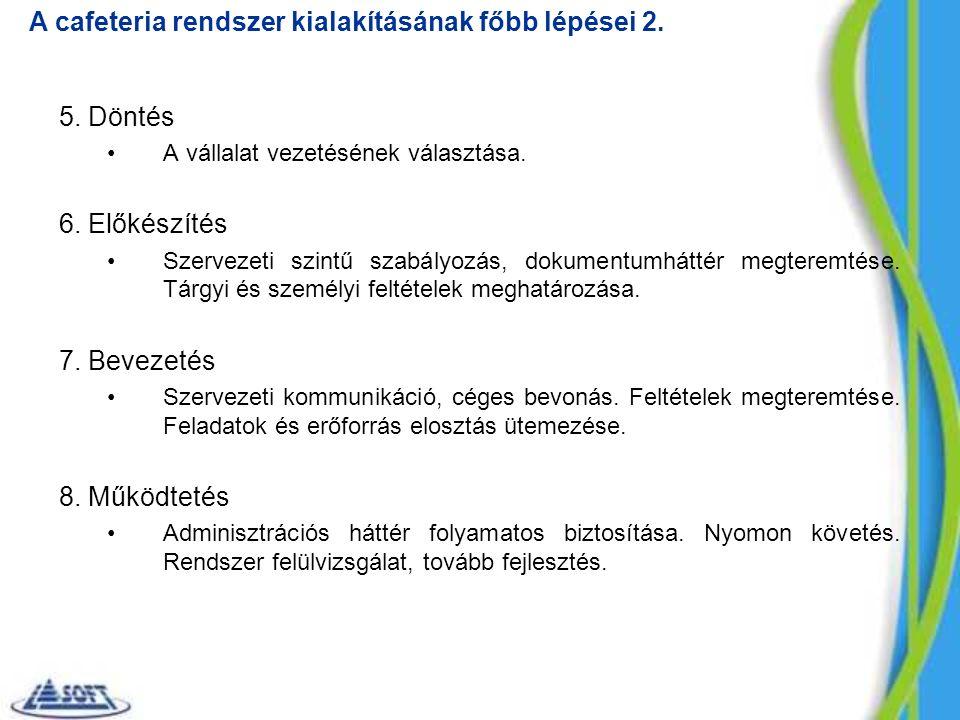 5. Döntés A vállalat vezetésének választása. 6. Előkészítés Szervezeti szintű szabályozás, dokumentumháttér megteremtése. Tárgyi és személyi feltétele